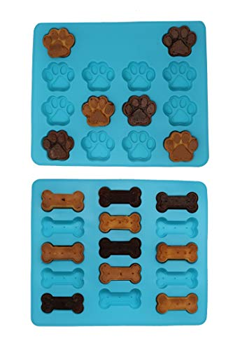 Win&Co Puppy Paws & Bones Silicone Baking Molds-Pan-Ice Trays Set of 2