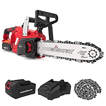 PowerSmart Chainsaw,12-Inch Cordless Chainsaw 20V 4Ah Battery Chainsaw Electric Chainsaw 20V Battery & Fast Charger & A Complimentary Chain Included