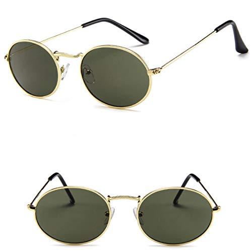 NJJX Gafas De Sol Ovaladas Retro Para Mujer, De Lujo, Vintage, Pequeñas, Negras, Rojas, Amarillas, Gafas De Sol,MonturaOvalada Para Mujer,Verde Oscuro