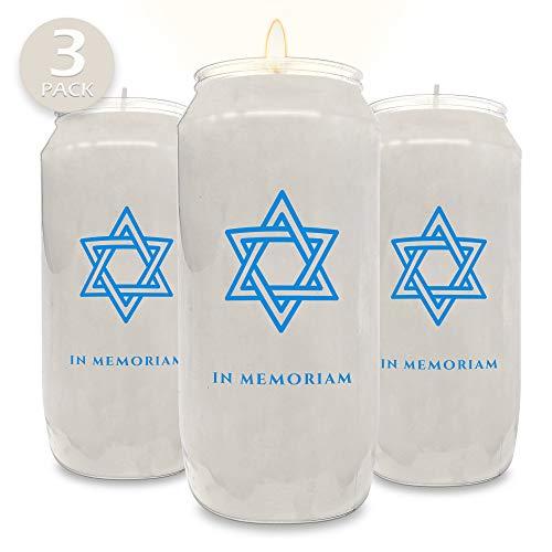 Ner Mitzvah Velas conmemorativas de 7 días - Tarro de plástico con Estrella de David -...