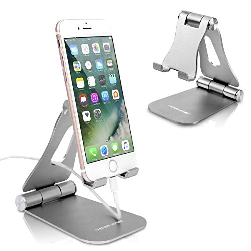 Adjustable Phone Stands, YOSHINE Foldable Cell Phone Holder, Updated Solid Aluminum Phone Dock, Cradle, Portable Cell Phone Stand for Desk Universal Tablet Stand Fits All Android Smartphones - Silver