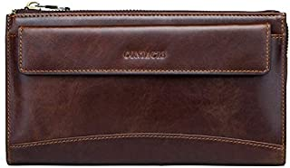 Casual Men's Clutch Leather Multifunction Antimagnetic RFID Vintage Business Men's Clutch WZXSMDY (Color : Coffee)