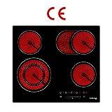 GASLAND Chef CH604BF Kochfeld Elektro / 60cm Glaskeramikkochfeld/Einbaukochfeld / 4 Kochzonen/Zweifach-Zone/Bräterzone/Slider-Bedienung/Kindersicherung / 6,6kW