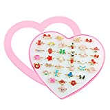SUNMALL 36 pcs Little Girl Adjustable Rings in Box, No Duplication, Children Kids Jewelry Rings Set with Heart Shape Display Case, Girl Pretend Play and Dress up Rings for Kids (A)