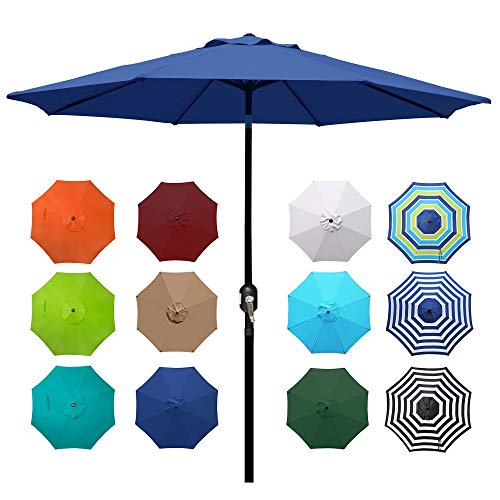 Blissun 9' Outdoor Aluminum Patio Umbrella, Striped Patio Umbrella, Market Striped Umbrella with Push Button Tilt and Crank (Navy Blue)