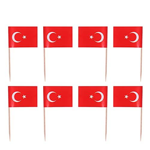 VALICLUD 100Pcs Türkei Flagge Zahnstocher Türkische Fahnen Cupcake Topper Mini Lebensmittel Wüste Obst Pick Sticks Flagge Cocktail Pick für Welt Tasse Land Sport Partei Liefert
