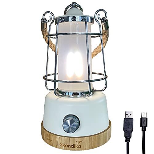skandika LED-Lampe Kiruna | Retro Outdoor Campinglampe mit Powerbank, stufenlos dimmbar, kabellos, Akku, aufladbar, USB, warm- und kaltweiß, Ringaufhängung, 75h Leuchtzeit | Tischlampe aus Bambus
