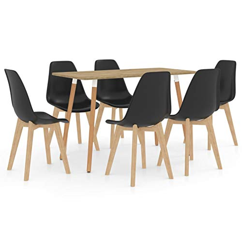 Tidyard Essgruppe Esstischset Bartisch mit Barhocker Esstisch und 6 Stühle Set Modern Dining Set Holzoptik & Schwarz
