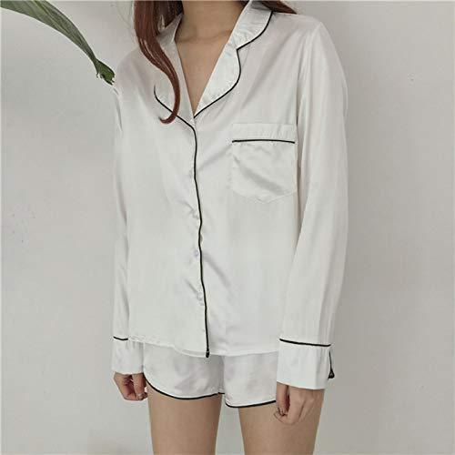 JFCDB Nachthemd Dames zijden satijnen pyjama set 2020 Mode sexy tweedelige set Dames nachtkleding Shirt met lange mouwen en korte broek Pyjama Dames, Wit, S