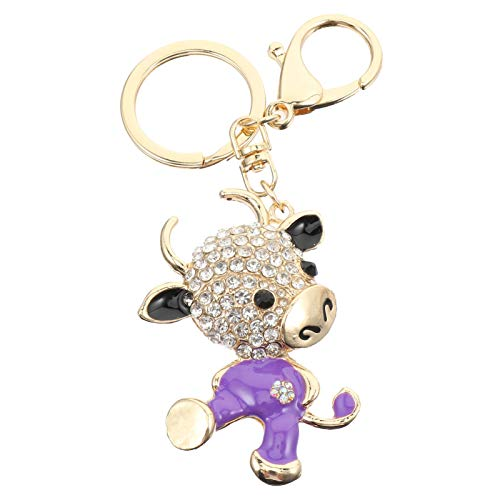KESYOO Cow Keychain Good Luck Key Rings Animal Bag Charms 2021 Chinese New Year Zodiac Souvenir Gift Rhinestone Keychain 2021 New Year Party Favors
