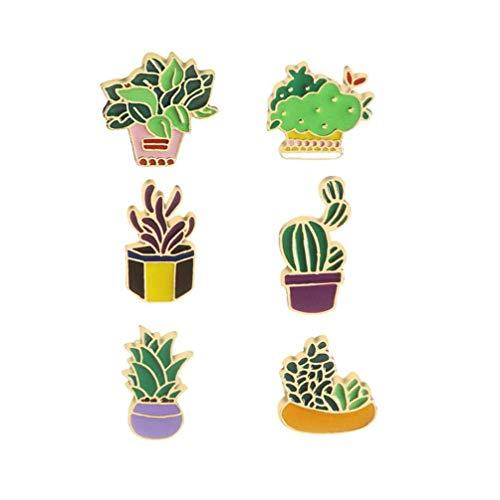 6pcs Cute Brooches Enamel Cactus Flower Grass Aloe Vera Potted Plant Badge Pins Beauty Supplies