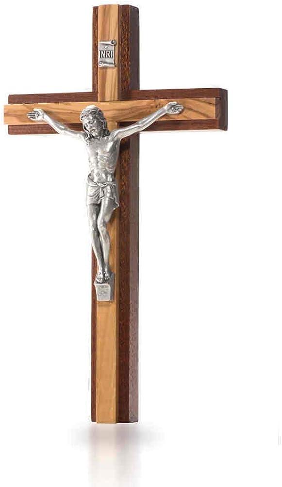 Crocifisso da parete moderno in mogano, con supporto a croce in legno di ulivo, corpo in metallo color argento ro.G4287