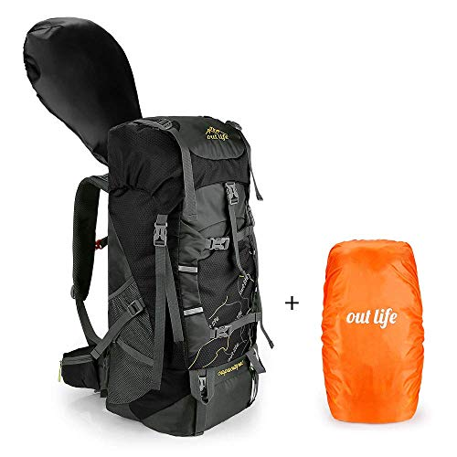 petit un compact Sac à dos de randonnée Outlife 60L avec grande capacité et housse de pluie Sac d'escalade léger…