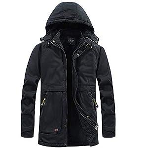 Men's Winter Coats with Hood Fleece Lining Casual Thicken Jacket Hood...