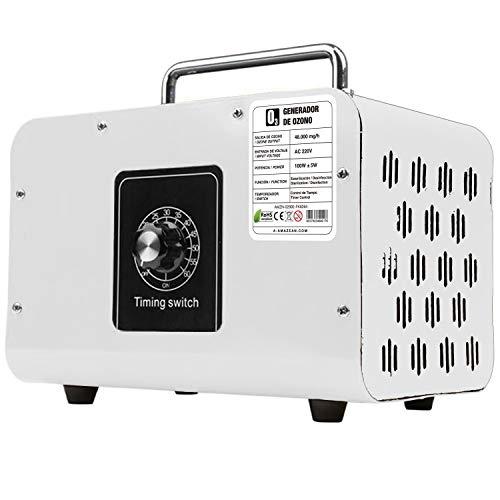 AMAZEAN O3 Premium/Generador de ozono Industrial 48.000mg / HR 220v con células tubulares de sílice. Limpiador de ozono, Dispositivo de ozono. Tecnologia Honey-Comb-Tec© (Blanco)