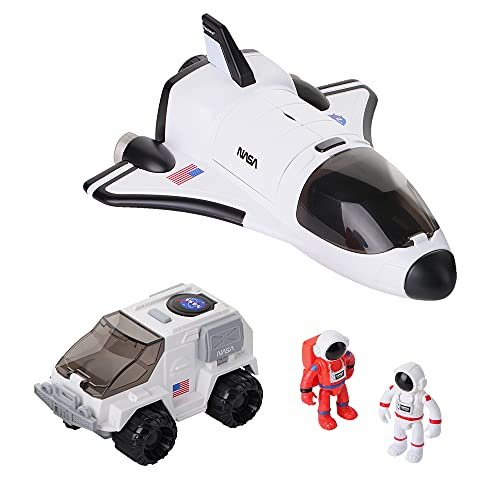 Space Shuttle Toy with 2 Astronauts, Mechanical Arm and Rover - Lights Up with Blast Off Sound Effects - Rover Compartments Open with The Push of a Button - Fun Space Toys for Kids