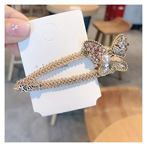 WHBGKJ Cheveux Épingles Coréen Creative Butterfly Coiffures Clip Coiffure Elégante Bijoux Cristal Strass Bow Pow Cheveux Femme Accessoires pour Braids Femmes décoration (Color : Champagne)