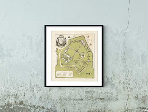 Map|Old Fort Niagara 1938|Historic Antique Vintage Reprint|Size: 22x24|Ready to Frame