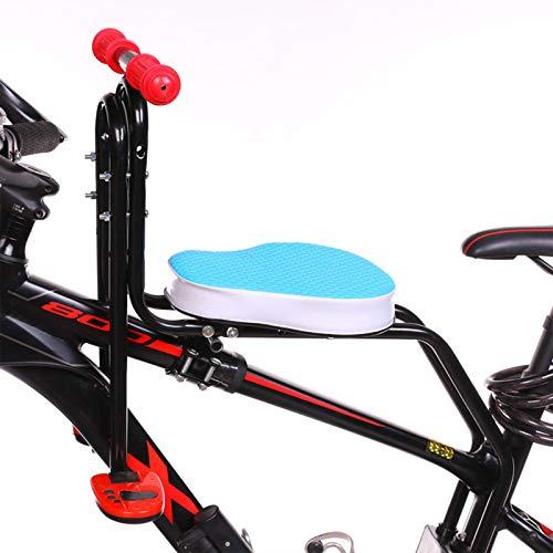 FHW Asiento De Bicicleta para NiñOs, Asiento De Seguridad, Asiento De Bicicleta Delantero, Asiento De Bicicleta para NiñOs Plegable, con Reposabrazos Y Pedales, Resistente Y Duradero,Azul