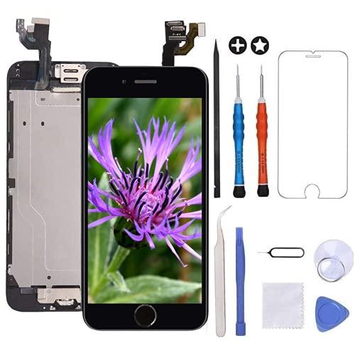 GULEEK Display per Nero iPhone 6 Schermo 4,7  LCD Touch Screen Digitizer Parti di Ricambio (con Home Pulsante, Altoparlante, Fotocamera,Sensore Flex) Strumenti Inclusi