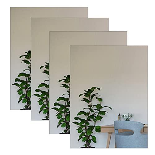 Adhesivos de pared de espejo acrílico autoadhesivos, hojas de espejo no de cristal, azulejos de espejo para bricolaje y decoración de pared (40 x 30 cm)