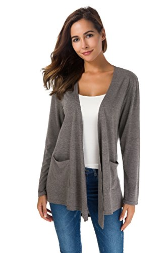 TownCat Cardigans for Women Loose Casual Long Sleeved Open Front Breathable Cardigans with Pocket (Gray, M)