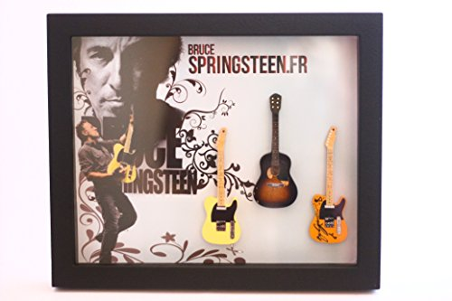rgm8820Bruce Springsteen guitarra en miniatura recogida en el marco de Shadowbox