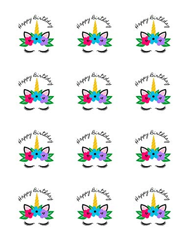 """Unicorn with Fugshia- Blue - Purple Flowers - Edible Image Cupcake Toppers - Set of 12 Precut - 2"""" Round"""
