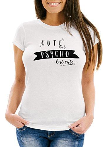 MoonWorks Damen T-Shirt mit Spruch - Psycho - Cute but Psycho but Cute - Sprüche Slim Fit weiß S