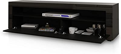 TV Cabinet Stand Shelf Entertainment Unit Wood Storage RGB LED Light 2 Doors Black 155CM