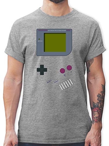 Nerds & Geeks - Gameboy - L - Grau meliert - Tshirt Herren 90er - L190 - Tshirt Herren und Männer T-Shirts