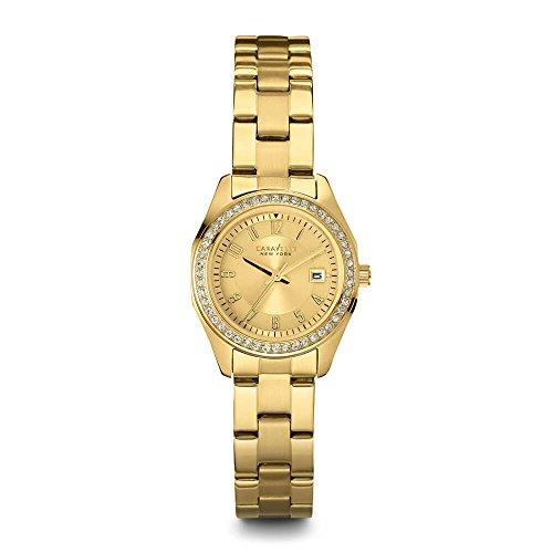 Ladies 'Caravelle Nueva York Cristal Dorado Tono Reloj