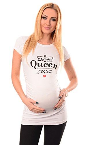 Purpless Maternity Coton Haut Grossesse Top T-Shirt pour Enceinte Femmes Slogan Print Queen Mum Thème 2009 (36, White)