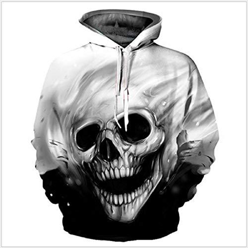 Cráneo Blanco Otoño E Invierno Pareja Sudadera con Capucha Impresión 3D Patrón Creativo