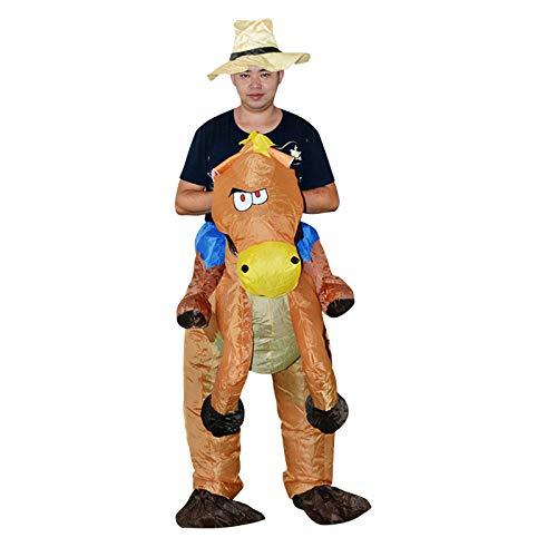 LJKD Caballo Inflable Traje,Disfraz De Cowboy con Caballo Hinchable para Adultos,Traje Cosplay Fiesta,Halloween