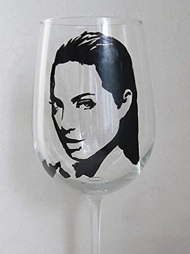 ANGELINA JOLIE Hand Painted Wine Glass