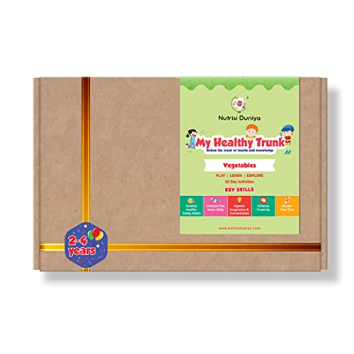 My Healthy Trunk Activity Box for Kids, Thematic Story Book, Flash Cards, DIY Activities, Worksheets, Reward Stickers, Monthly Tracker, 2-4 Years - Vegetables Theme Mega Pack