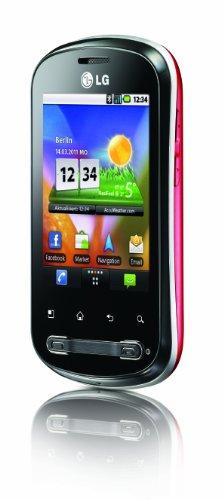 LG P350 Optimus Me Smartphone (7,1 cm (2,8 Zoll) Display, Touchscreen, 3 Megapixel Kamera) schwarz/rot