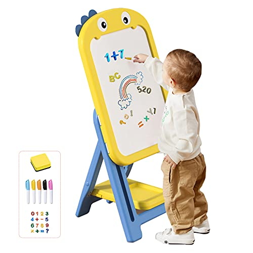 mloong Instant Kids Easel, Height Adjustable Art Easel, Magnetic Dry Erase Board with 16 pcs Number Magnets, Standing Drawing Whiteboard with 5 pcs Watercolor Pen for Toddlers