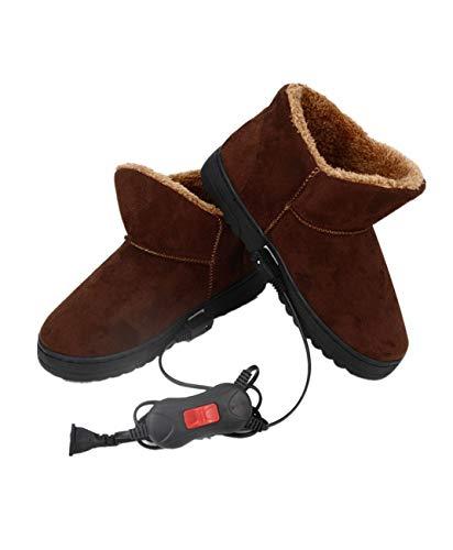 Wärmende Pantoffeln Für Damen 1 Paar Elektrischer Heizpantoffel Beheizte Plüschschuhe Fußwärmer Für Den Winter - Kaffee 34-36EU(26CM)