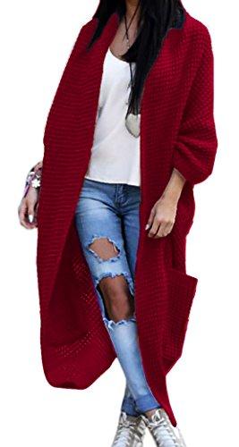 Mikos Damen Strickjacke Pullover Pulli Jacke Oversize Boho S M L XL (629) (One Size, Weinrot)