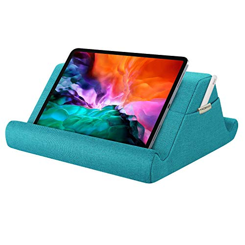 MoKo Tablet Pillow Holder, Pillow Pad Multi-Angle Soft Tablet Stand Up to 12.9', Lap Pillow for eReaders, Books, Magazines, Fit iPad 10.2', iPad Air 3 2, iPad Pro 11'/ Pro 12.9' / 9.7' - Sea Blue
