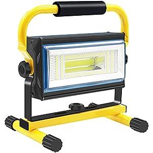 Sylstar COB Luz de trabajo LED, 100 W, recargable, portátil, 7000 lúmenes, 14400 mAh, IP65, resistente al agua, con cargador de coche