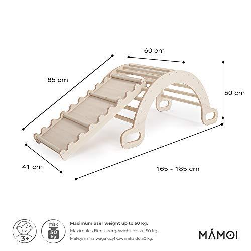 MAMOI Triangle Gym Dreieck mit Rutsche Kletter Wippe Holz Natürliche Materialien - 3