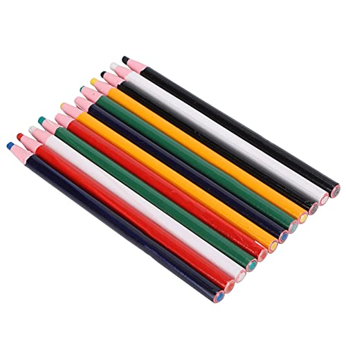 12Pcs Clothing Marking Crayons Peel-Off Markers Grease Pencil Crayons Colorful Fabric Drawing Marking Wax Pencils