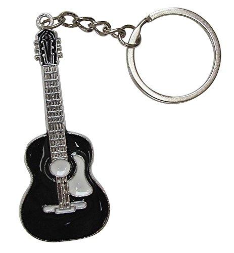schlüsselanhänger Stil trocknet Gitarre im versilberten Stahl. (Schwarz)