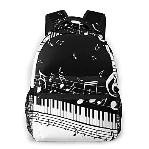 DJNGN Mochila informal con estampado de notas musicales en blanco y negro, mochila clásica para viajar con bolsillos laterales para botellas