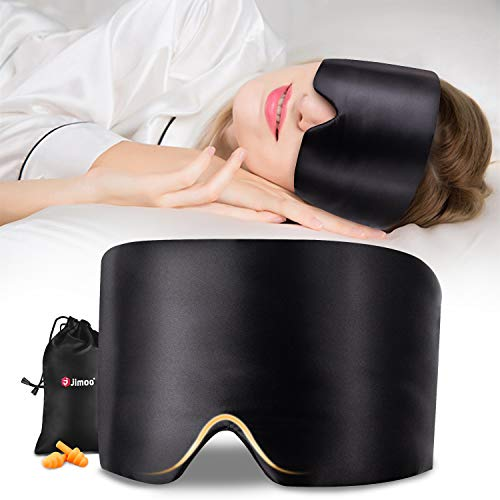 Silk Sleep Mask,Eye Mask with Adjustable Headband, Blindfold,Pressure Free Sleeping Mask with Earplugs &Travel Pouch for A Full Night