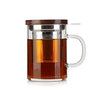 Glass Tea Cup COMI Glass Mug with Walnut Lid 14oz Business Teacups with Infuser