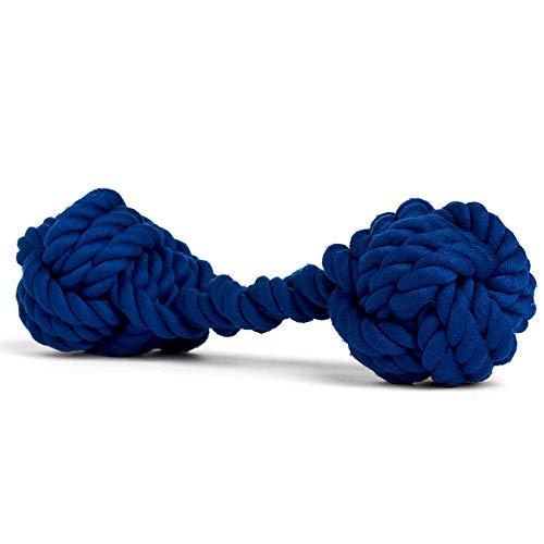 Rocco & Roxie Hundespielzeug aus Seil – Knochenförmige Baumwolle zum Zerren der Zähne beim Kauen (Salbeigrün, Puderblau oder Marineblau) (Marineblau)